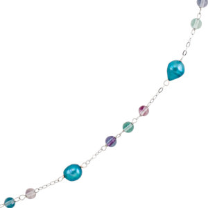 Freshwater Cultured Dyed Pearl & Crystal Beads Necklace