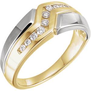 14K Yellow & White 1/3 CTW Diamond Men's Ring