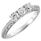 Diamond 3-Stone Anniversary Ring or Mounting