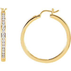 Diamond Channel-Set Hoop Earrings