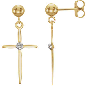 14K Yellow .01 CTW Diamond Cross Earrings