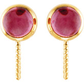 Genuine Pink Tourmaline Semi-mount Earrings