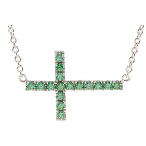 "Sterling Silver Green Cubic Zirconia Sideways Cross 18"" Necklace"