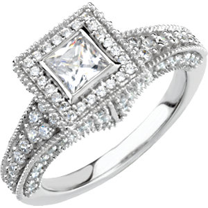 14kt White 1 1/5 ATW<br> Diamond Engagement Ring