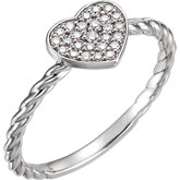Diamond Heart Rope Ring or Mounting