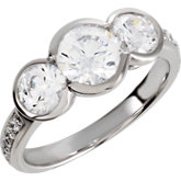 3-Stone Engagement Ring or Band Mounting