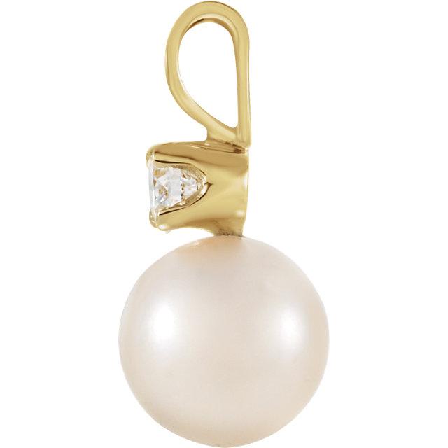 14K Yellow Akoya Cultured Pearl & .02 CTW Diamond Pendant