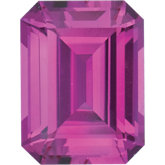 Emerald/Octagon Lab Created Pink Sapphire