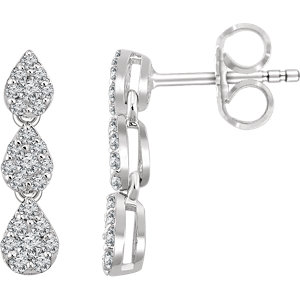 14K White 1/2 CTW Diamond Cluster Dangle Earrings