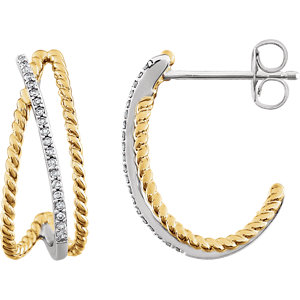 14kt White & 14kt Yellow Gold Plated 1/1  ATW Diamond Earrings
