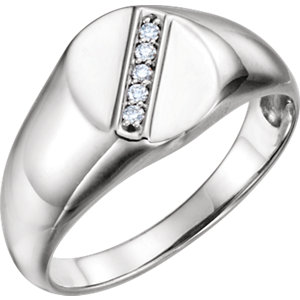 14K White .08 CTW Diamond Men's Oval Signet Ring
