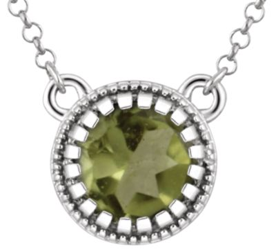 "14kt White Peridot ""August"" 18"" Birthstone Necklace"