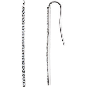 Platinum 1/4 CTW Diamond Vertical Bar Earrings