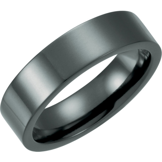 Black Titanium 6mm Flat Polished Band Size 5.5
