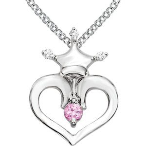 Pink Sapphire and .02 CTW Diamond Crown Heart 14 to 16 inch Ref 650758