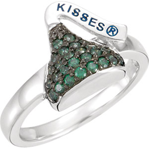 Sterling Silver May HERSHEYS KISSES Aubic Zirconia Birthstone Ring