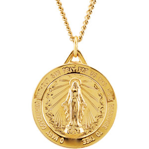 24kt Gold Plated Miraculous Medal Necklace