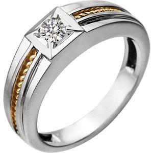 14K White & Yellow 1/4 CTW Diamond Men's Ring