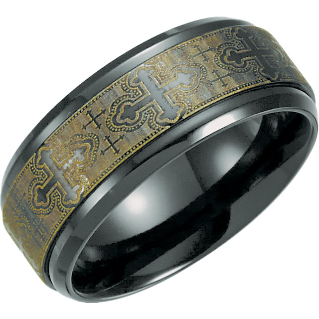 Black Titanium 8mm Ridged Band with Laser Design Size 8