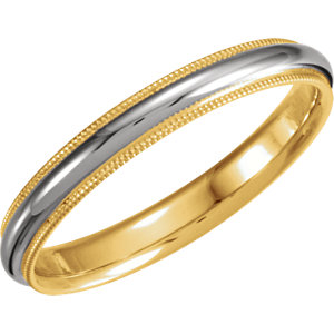 Two-Tone 3.5mm Comfort-Fit Milgrain Band