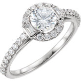 Diamond Semi-mount Halo-Style Engagement Ring, Band or Mounting
