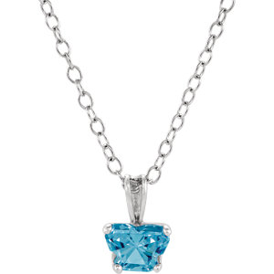 "10K White December Birthstone 14"" Necklace"