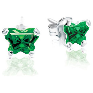 Sterling Silver May Bfly® AZ Birthstone Youth Earrings with Friction Backs and Box