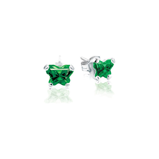 Sterling Silver May Bfly® CZ Birthstone Youth Earrings with Friction Backs and Box