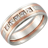 Comfort Fit Wedding Band Mounting in 14KW/Rose