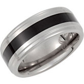 8.3mm Dura Tungsten® Ridged Band with Black Enamel Inlay