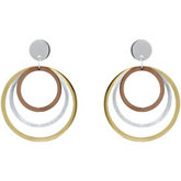 Amalfi™ Tri-Color Immersion Plated Stainless Steel Multiple Circle Hoop Earrings