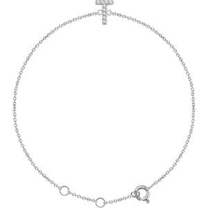 "14K White .05 CTW Diamond Initial ""T"" 6-7"" Bracelet"