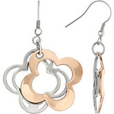 Amalfi™ Stainless Steel Open Clover Earrings with Rose Gold Immersion Plate