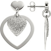 Amalfi™ Stainless Steel Glitter Heart Earrings with Immersion Plate
