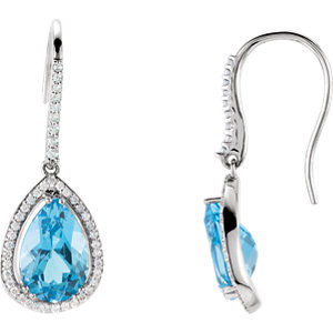 14K White Swiss Blue Topaz & 1/2 CTW Diamond Earrings