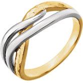 Two-Tone Overlap Hammered Ring