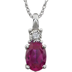 """14K White Created Ruby & .02 CTW 18"""" Necklace"""