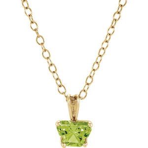 "10K Yellow August Birthstone 14"" Necklace"