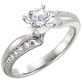 Diamond Semi-mount Bypass Engagement Ring or Mounting