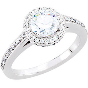 Diamond Halo-Styled Engagement Ring, Semi-Mount or Band