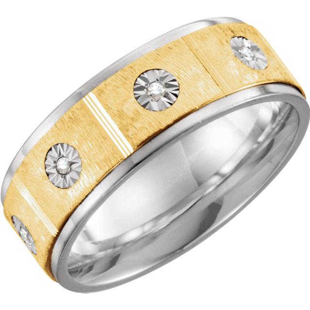 Sterling Silver & 10K Yellow 8mm 1/10 CTW Diamond Band Size 10.5