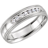Diamond Half Round Comfort Fit Double Milgrain Band or Mounting