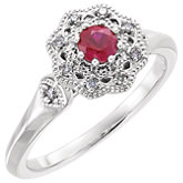 Ruby & Diamond Halo-Style Ring or Mounting