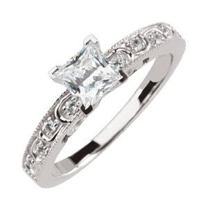Diamond Semi-Mount Engagement Base or Band