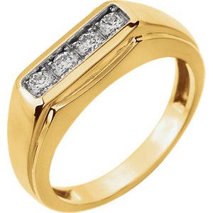 14K Two-Tone 3/8 CTW Diamond Men's Ring
