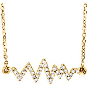 "14K Yellow 1/6 CTW Diamond Heartbeat 16-18"" Necklace"