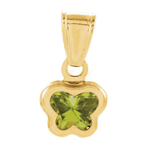 14K Yellow August CZ Birthstone Pendant