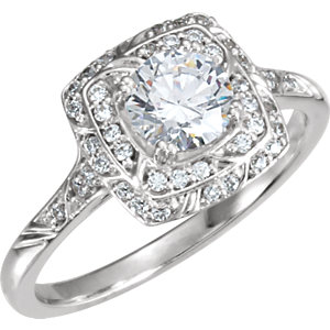 Diamond Sculptural Engagement Ring or Semi-Mount