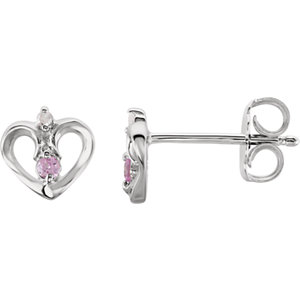 Pink Sapphire and .01 CTW Diamond Heart Earrings Ref 192021