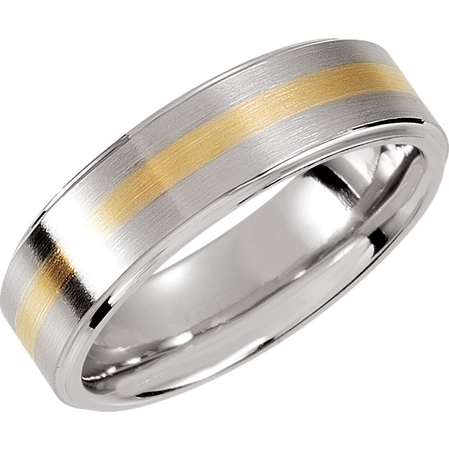 Dura Cobalt™ & 14K Yellow Inlay 8mm Ridged Band Size 8